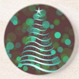 Teal Ribbon Christmas Tree on Holiday Bokeh コースター