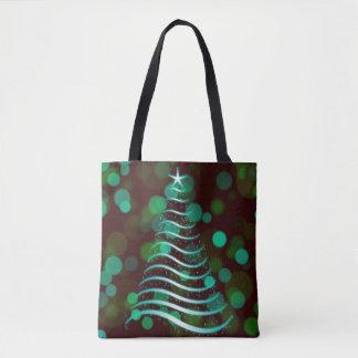 Teal Ribbon Christmas Tree on Holiday Bokeh トートバッグ