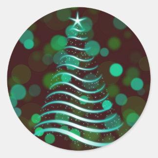 Teal Ribbon Christmas Tree on Holiday Bokeh ラウンドシール