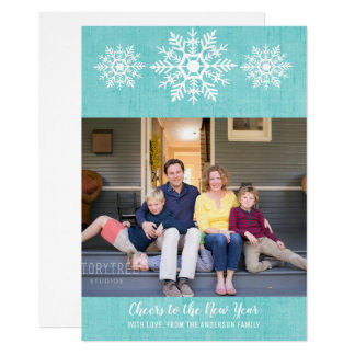 Teal Rustic Snowflake New Year's Photo Flat Card カード