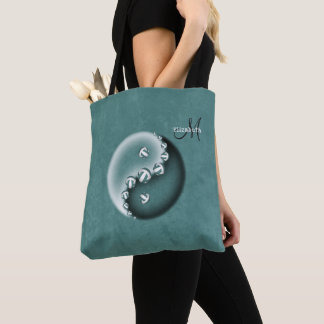teal yin and yang volleyball monogrammed women's トートバッグ