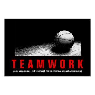 Teamwork Basketball Inspirational Quote Players ポスター