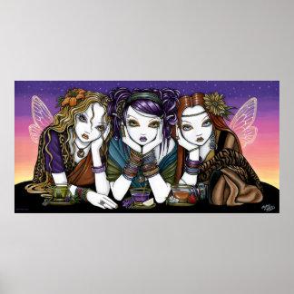 Teaparty 3人の都市KiKiの妖精ポスターのための茶 ポスター