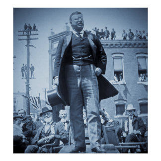 Teddy Rooseveltは1905年のヴィンテージの群集に話します ポスター
