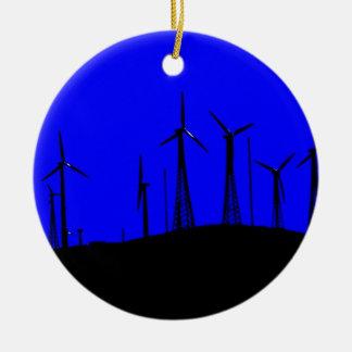 Tehachapiの風力発電地帯のシルエット セラミックオーナメント