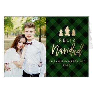 Tela Escocesa Verde Feliz Navidad カード