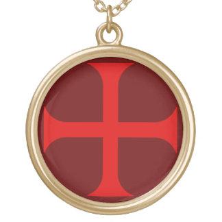 Templarの十字のネックレスI ゴールドプレートネックレス