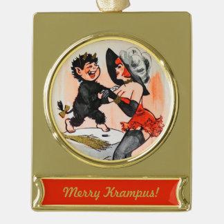Temptressのヴィンテージのクリスマスの幸せなKrampus ゴールドプレートバナーオーナメント