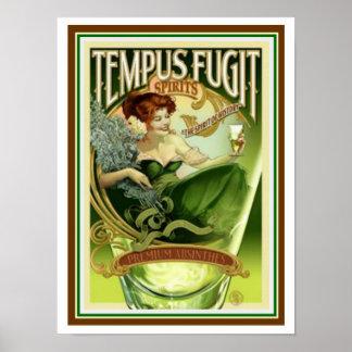 Tempus Fugitの精神12 x 16ポスター ポスター