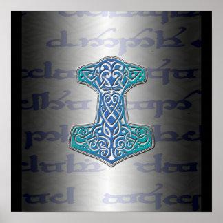 Tengwarの青いMjölnir ポスター