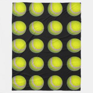 Tennis_balls、_Yellow_Black_Large_Fleece_Blanket. フリースブランケット
