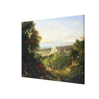 TerracinaおよびMonte Circeo 1833年の眺め キャンバスプリント