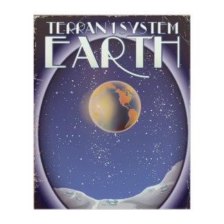 Terran 1枚のシステム地球のサイファイ旅行ポスター アクリルウォールアート