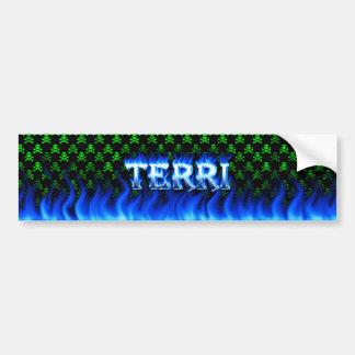 Terriの青い火および炎のバンパーステッカーは設計します バンパーステッカー