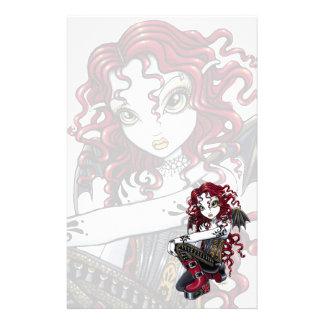 """Terri""のゴシック様式赤いバラの入れ墨の妖精の文房具 便箋"