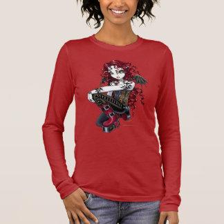 """Terri""のゴシック様式赤いバラの入れ墨の妖精の芸術の上 長袖Tシャツ"