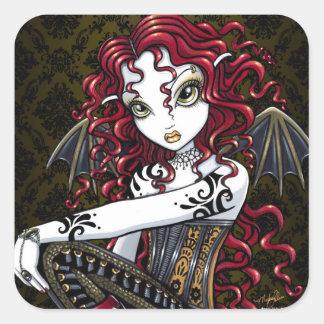 """Terri""のゴシック様式赤いバラの妖精のファンタジーのステッカー スクエアシール"