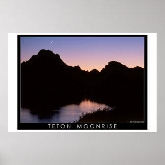 TetonのMoonrise ポスター