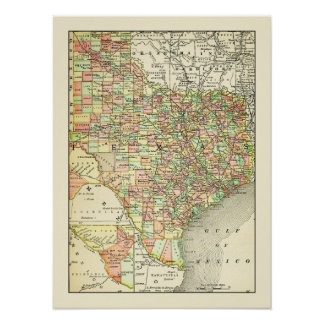 Texas Antique Map Towns & Counties Travel ポスター