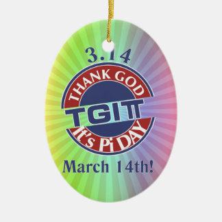 TGIPiはPi日3.14の神を赤くか青のロゴ感謝していしています セラミックオーナメント