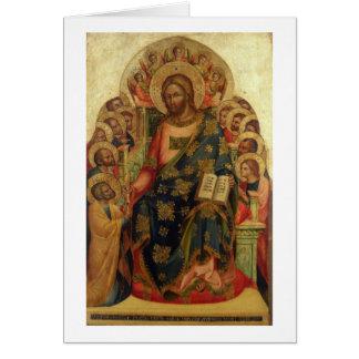 Thを渡しているキリストは聖者および天使と即位しました カード