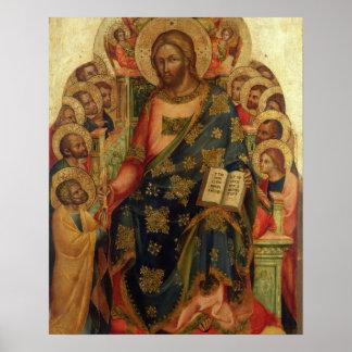 Thを渡しているキリストは聖者および天使と即位しました ポスター
