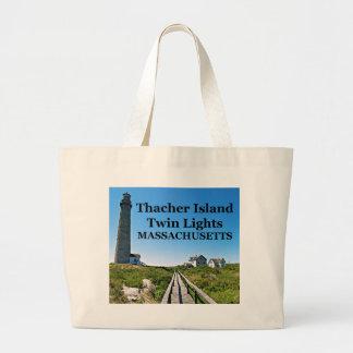 Thacherの島の双生児ライト、マサチューセッツトートバック ラージトートバッグ