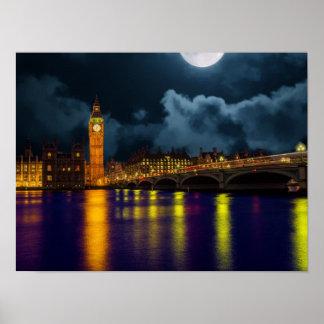 Thames川およびビッグベンとのロンドン場面 ポスター