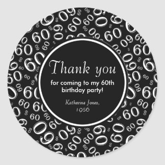 Thank You: Black and White 60th Birthday Party ラウンドシール