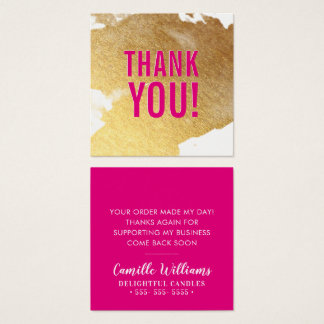 THANK YOU glam luxe faux gold foil splash hot pink スクエア名刺