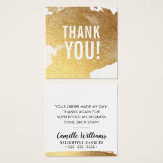 THANK YOU glamorous luxe faux gold foil splash スクエア名刺