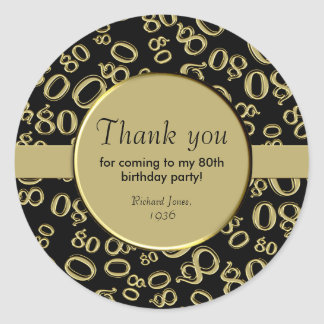 Thank You: Gold and Black 80th Birthday Party ラウンドシール