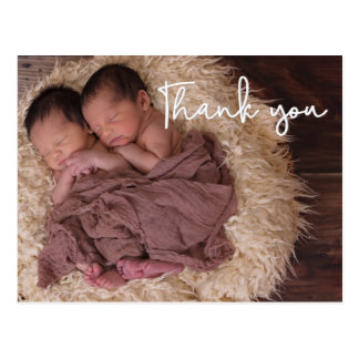 Thank You , Twin Birth Announcement, Script text ポストカード