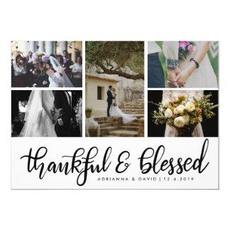 Thankful & Blessed Five Couple Photo Wedding 12.7 X 17.8 インビテーションカード