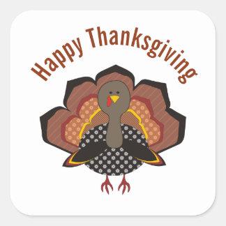Thankgivingお洒落なトルコのステッカー スクエアシール