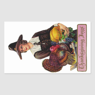 Thankgivingの喜びのステッカー 長方形シール