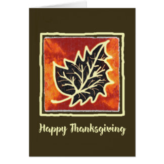 Thanksgiving Autumn Leaf Painting Card カード