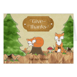 Thanksgiving for Sister Scrapbook-look Woods Foxes カード