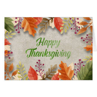 "Thanksgiving - ""Happy Thanksgiving"" Watercolors カード"