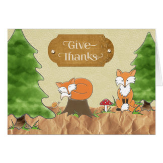 Thanksgiving Scrapbook-look Woods with Foxes カード