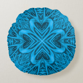 The Blues Kaleidoscope Pattern Round Pillow ラウンドクッション