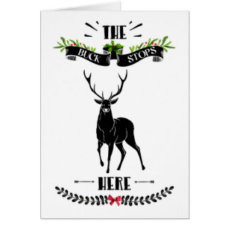 The Buck Stops Here Deer Christmas カード