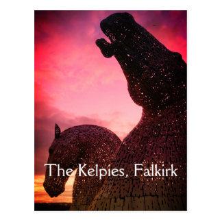 The Kelpies postcard, high horse-head sculptures ポストカード