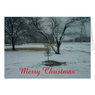 The Merry Christmas disc golf goal in snow card カード