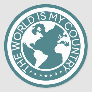 The World is My Country Sticker. ラウンドシール
