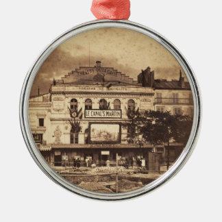 Theatrere de la Gaiteé Boulevard DUの寺院パリ1855年 シルバーカラー丸型オーナメント