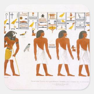 Thebesのディスクの王の墓からの壁画 スクエアシール