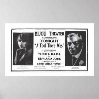 Theda Baraの1916年のヴィンテージ映画広告ポスター ポスター