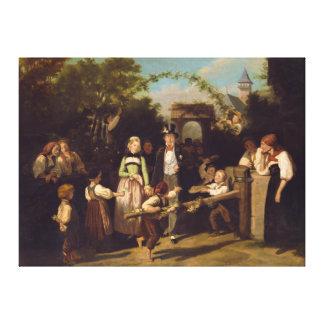 Theodor Schuz著結婚式のカップルの披露宴 キャンバスプリント