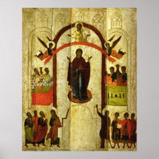 Theotokosのロシア人アイコンの保護 ポスター